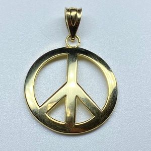 Jewelry - Solid 14K Gold Peace Sign Pendant Charm